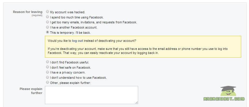 آموزش کامل حذف اکانت فیس بوک Facebook + تصاویر